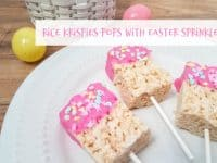 Super fun rice krispies pops with Easter sprinkles....