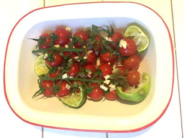 Roasted tomatoes with lime, garlic and chilli....