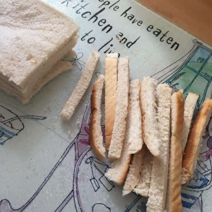 Saving bread crusts for breadcrumbs....