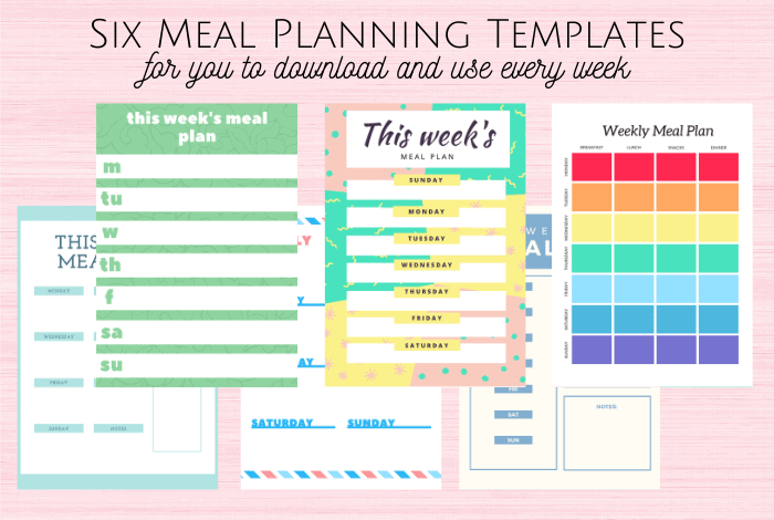Six Meal Planning Templates
