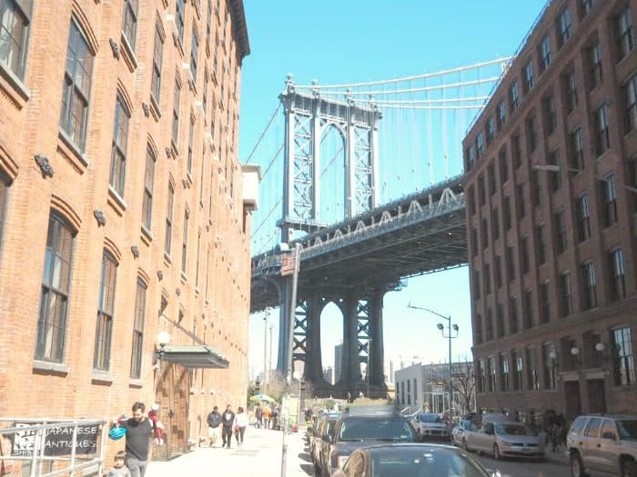 THe view of the Manhattan Bridge from Dumbo