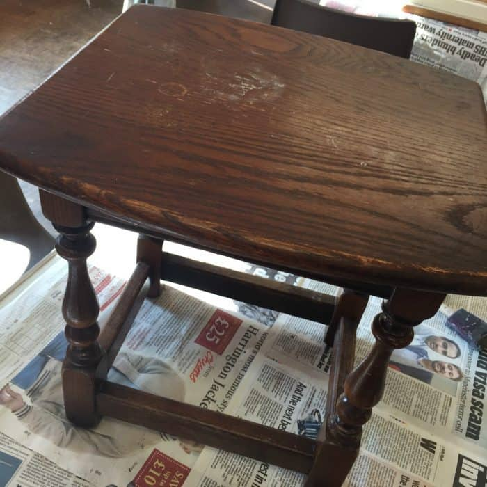 Table to be upcycled using milk paints