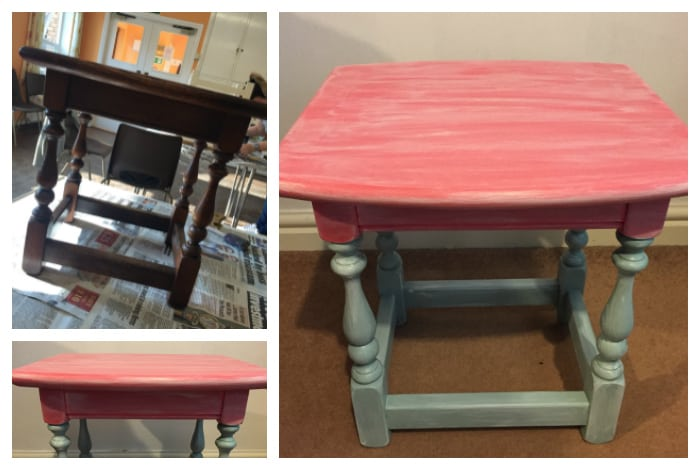 Thefinished upcycled table made using milk paints