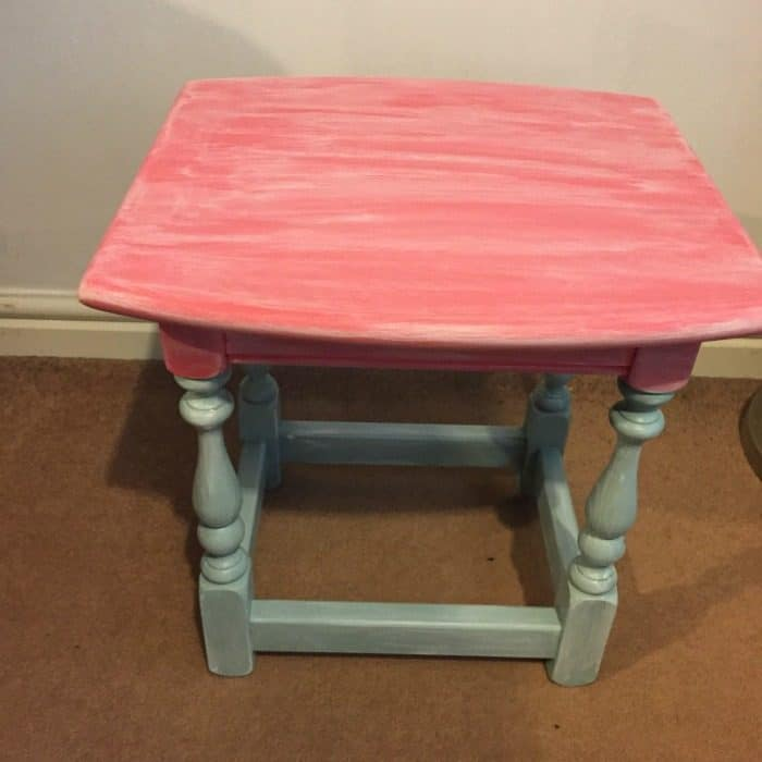 The almost finished upcycled table made using milk paints