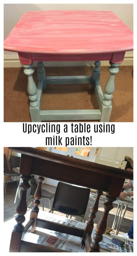 The finished upcycled table made using milk paints.