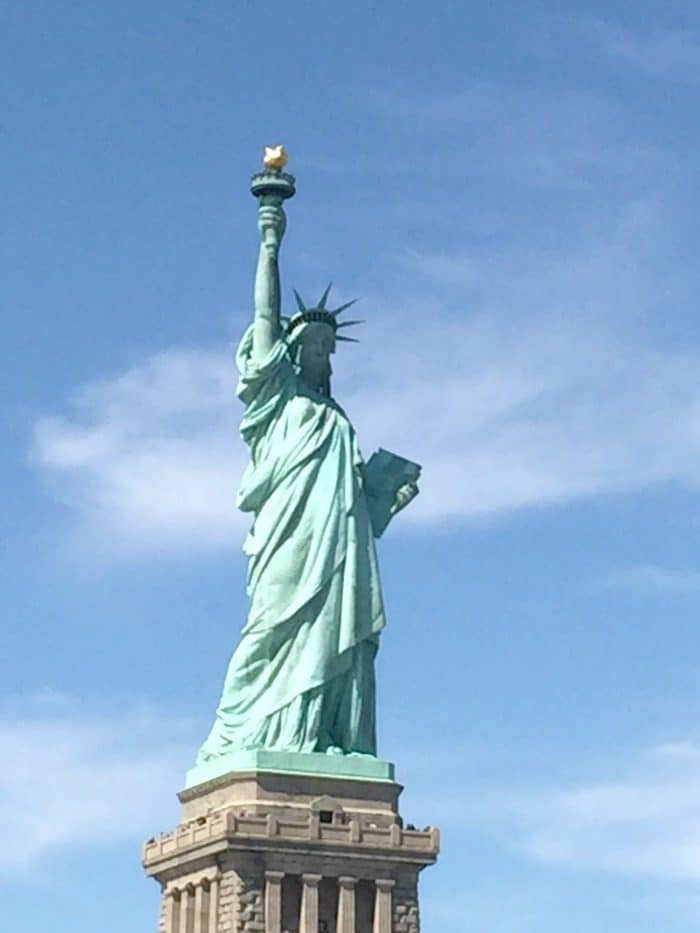 The statue of liberty from the water taxi