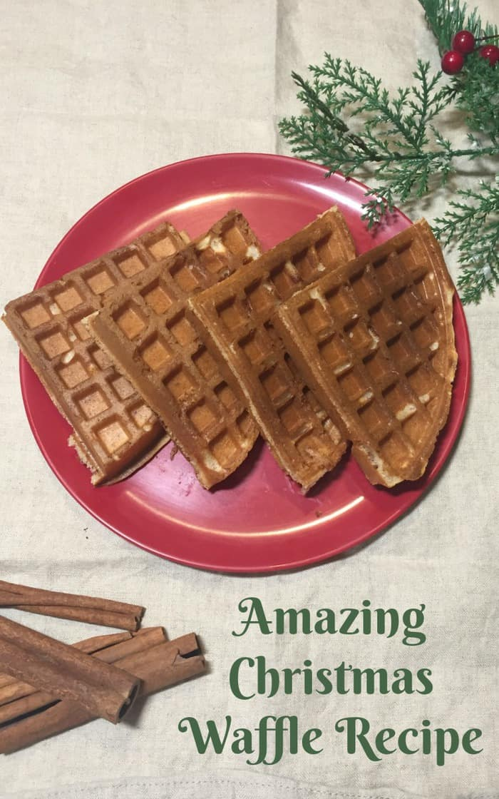 This amazing Christmas Waffle Recipe genuinely tastes of Christmas and I guarantee you're going to love it if you try it!