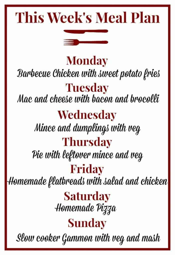 This week's meal plan - 1 May 2017