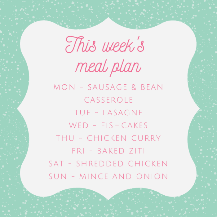 This week's batch cooking meal plan