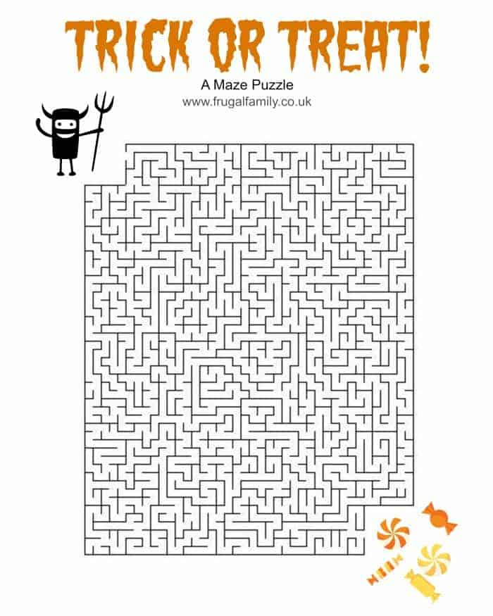 Trick or Treat maze Free Printable