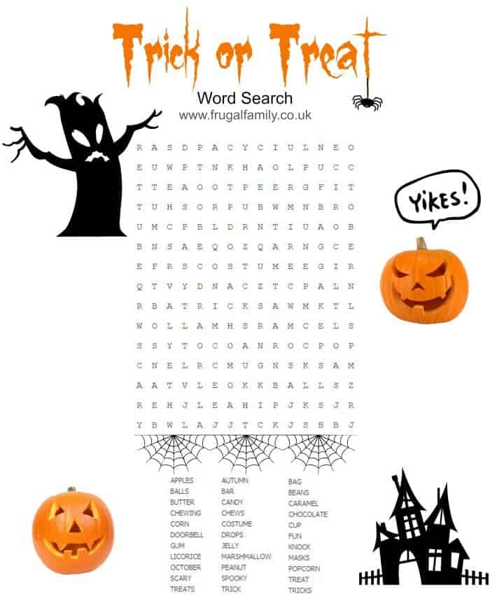 Trick or Treat Wordsearch Free Printable