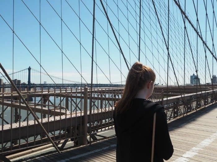Walking across Brooklyn Bridge