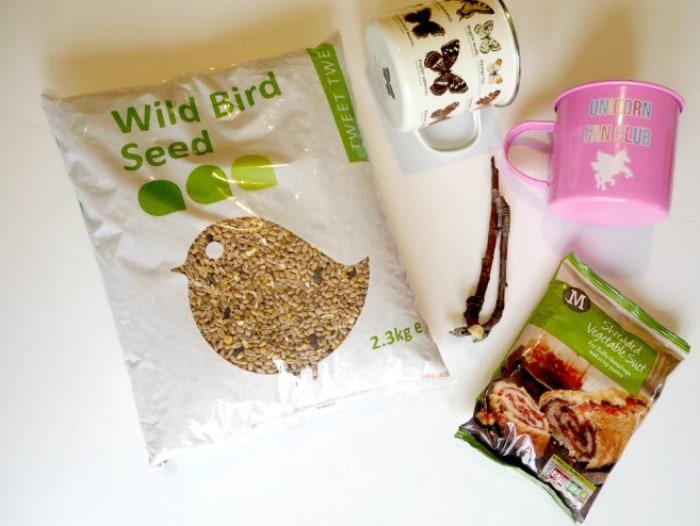 What you need to make a What you need to make a Homemade bird feeder in a mug.