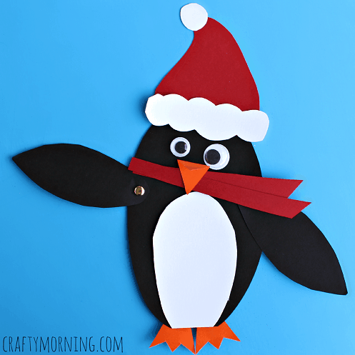 Moveable Christmas Penguin Craft for Kids
