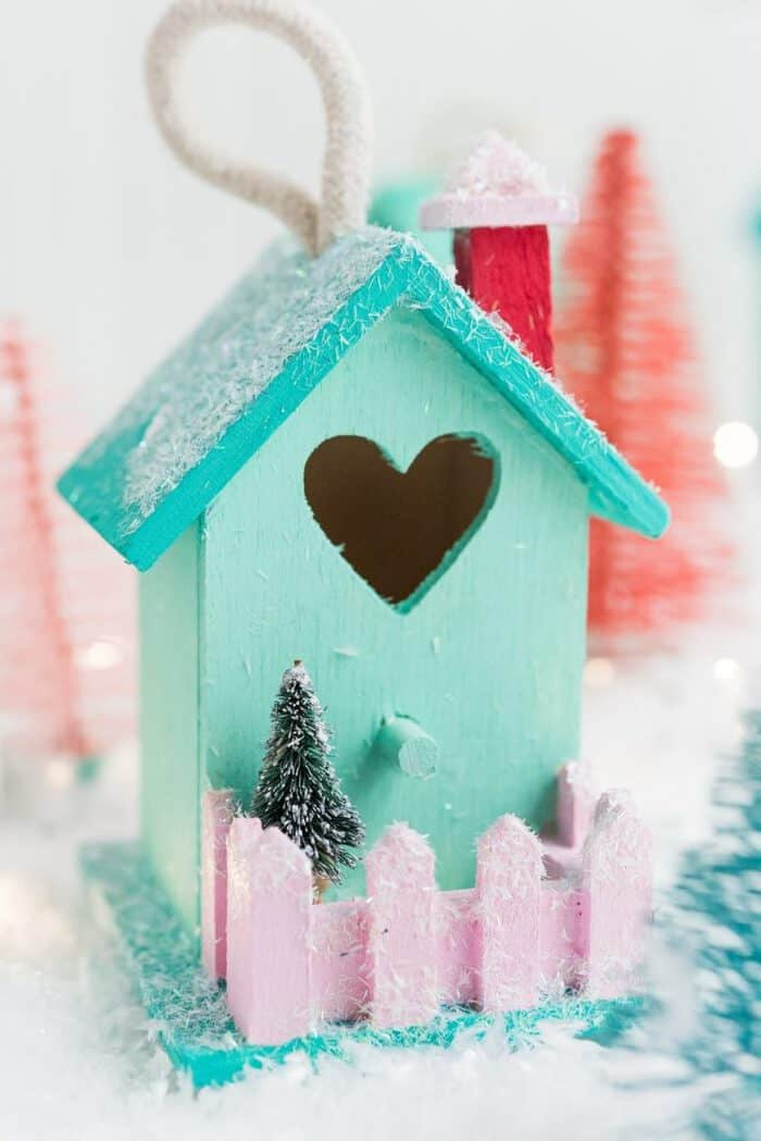 DIY Mini Birdhouse Christmas Village Ornaments