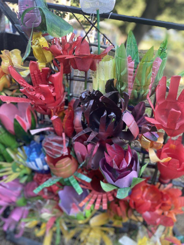 flowers made of plastic bottle