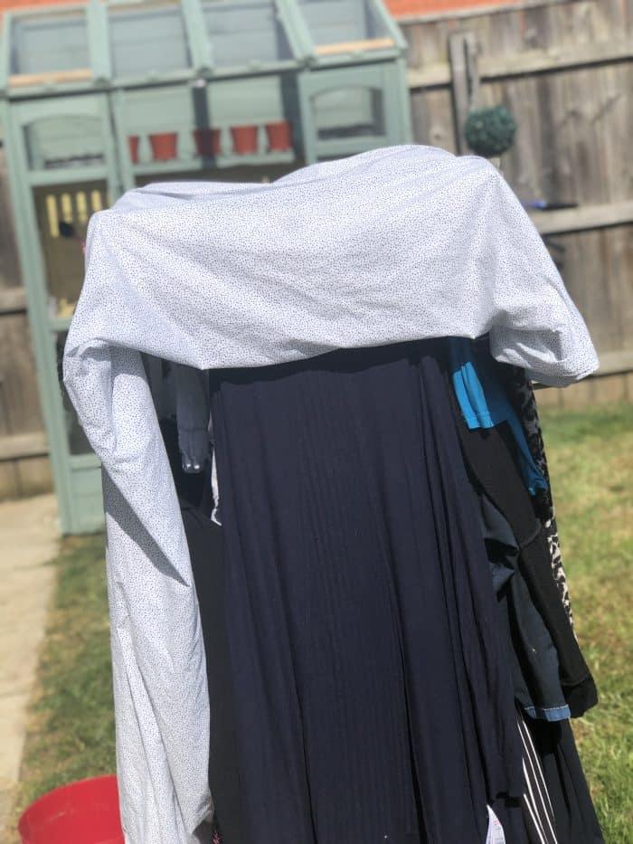 Line-drying washing with no washing line.