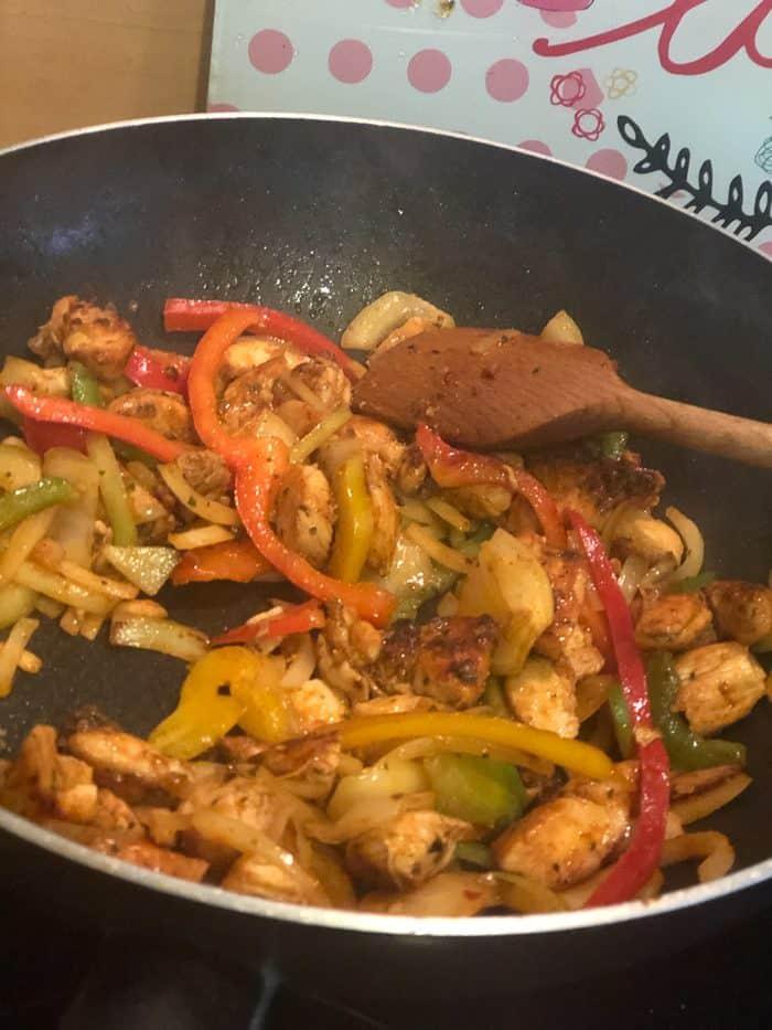 Fajitas in the pan