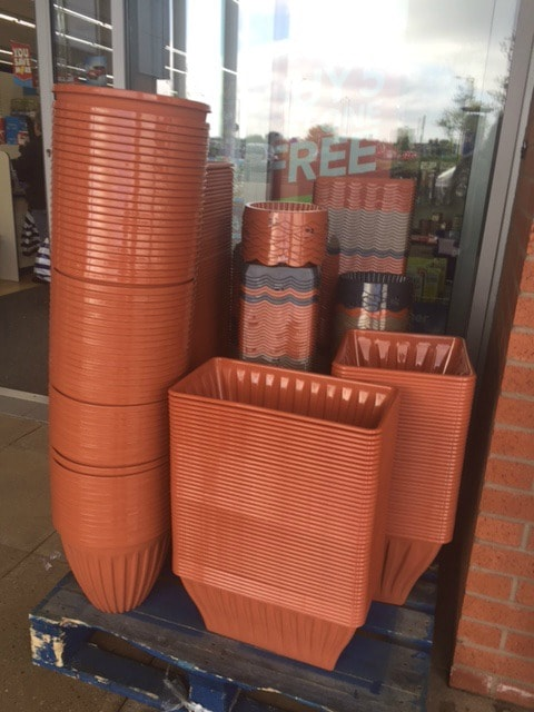 plant pots from the pound shop