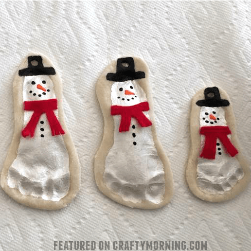 Salt Dough Footprint Snowman Keepsakes