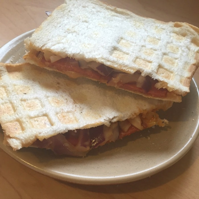 toastie made in the wafflemaker