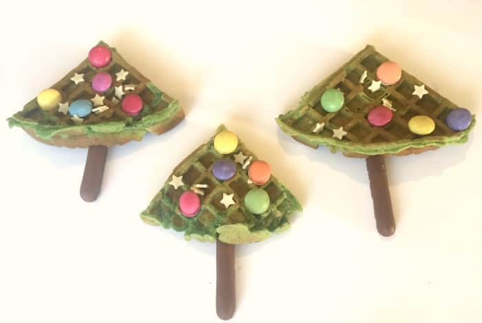 Homemade waffle Christmas trees....