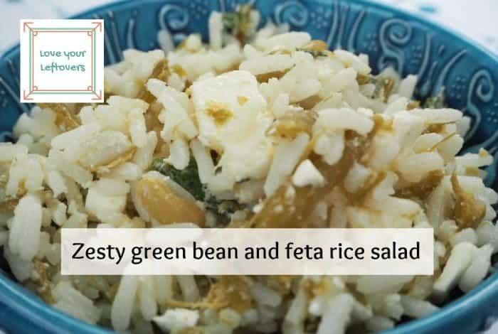 zesty green bean and feta rice salad.